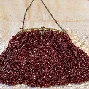 Antique French Beaded Handmade Purse Swan Findings